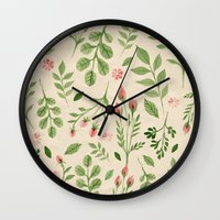 vintage flowers Wall Clocks featuring Vintage Flowers by Blue Daydreamer