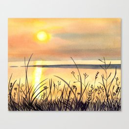 Sunset by the Water Watercolor Painting Canvas Print
