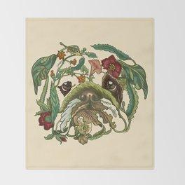 Botanical English Bulldog Throw Blanket