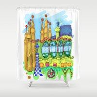 barcelona Shower Curtains featuring Barcelona by Aleksandra Jevtovic