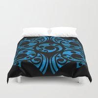 maori Duvet Covers featuring Blue Maori Style by Lonica Photography & Poly Designs