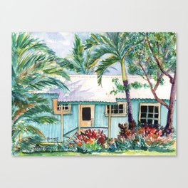 Tropical Vacation Cottage Canvas Print