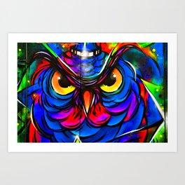 Owl Graffiti Street Art Camden London Art Print