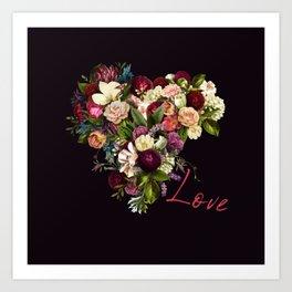 Moody romantic red love script flowers heart shape on dark purple indigo Art Print
