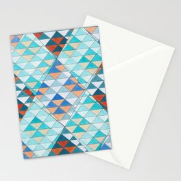 Triangle Pattern No.10 Shifting Turquoise and Orange Stationery Cards