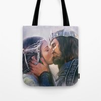 aragorn Tote Bags featuring Arwen and Aragorn by Isabella Morawetz