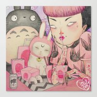 loll3 Canvas Prints featuring Noodle Eater by lOll3