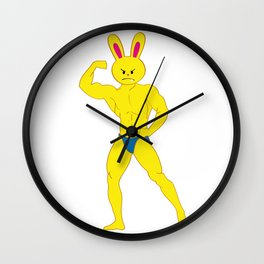 One Tooth Rabbit Bodybuilder Show Biceps Wall Clock