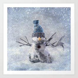 Cute snowman frozen freeze Art Print