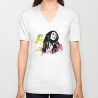 marley V-neck T-shirts featuring Marley Stencil Work by L & T Designs