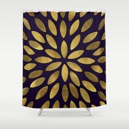 Classic Golden Flower Leaves Pattern Shower Curtain