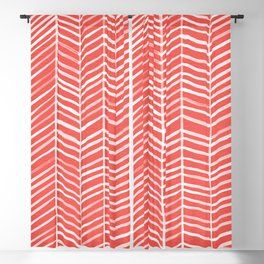 Coral Herringbone Blackout Curtain
