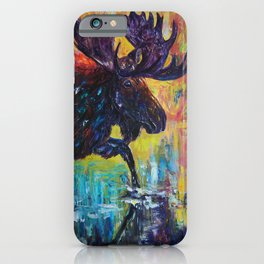 Moose in Turquoise Lake  Palette Knife  Painting by OLena Art iPhone Case
