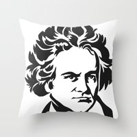 beethoven Throw Pillows featuring Beethoven by b & c