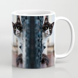 Curious Black and White Cat Coffee Mug