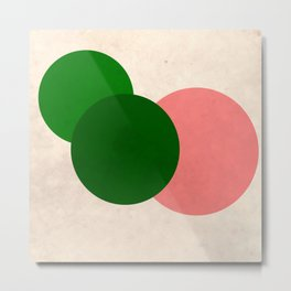 Peach Green Vintage Mod Circles Metal Print