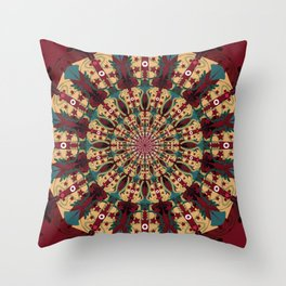 Mandala in red grená Throw Pillow