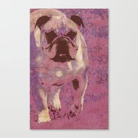 bulldog Canvas Prints featuring Bulldog by Angelandspot