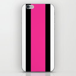 Black, White and Pink Vertical Stripes iPhone Skin