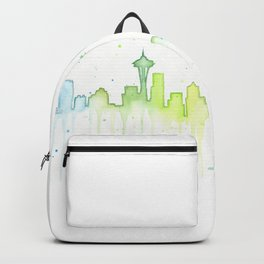 Seattle Skyline Watercolor Space Needle Painting Backpack