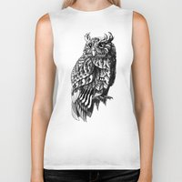 bioworkz Biker Tanks featuring Owl 2.0 by BIOWORKZ