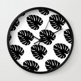 Black & White Palm Leaves Wall Clock