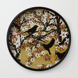 brown tan coffee beige birds design art designs with gold leaves and tree of life lovebirds Wall Clock