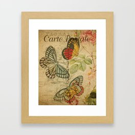 French Butterfly Collage Framed Art Print