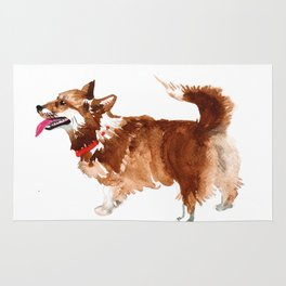 watercolor dog vol 15 corgi Rug