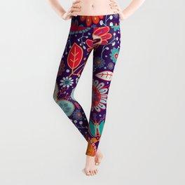 Colorful khokhloma flowers pattern Leggings