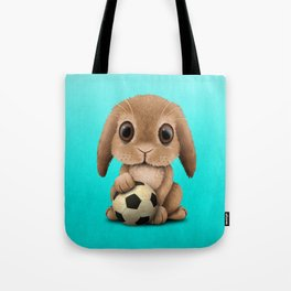 Cute Baby Bunny With Football Soccer Ball Tote Bag
