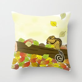 Cartoon Squirrel Dra Throw Pillow