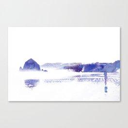 Haystack Rock watercolor Canvas Print