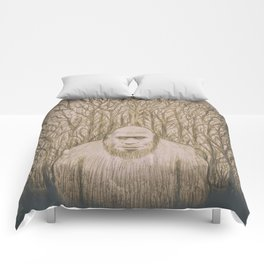 Sasquatch in the woods Comforters
