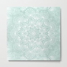 Mandala, Yoga, Love, Flower of Life, Teal Green Metal Print