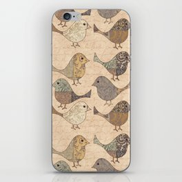 Nostalgic Autumn Patchwork Bird Pattern in warm retro colors #autumndecoration iPhone Skin