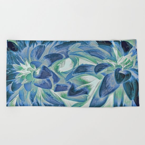 Midnight Floral Abstract Beach Towel