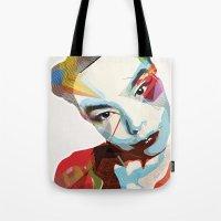 bjork Tote Bags featuring Bjork by Zaneta Antosik