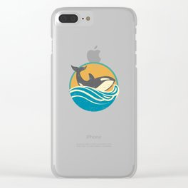 Retro Distressed Killer Whale Design for Orca Lovers Clear iPhone Case