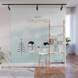 Merry Christmas with sweet penguins Wall Mural