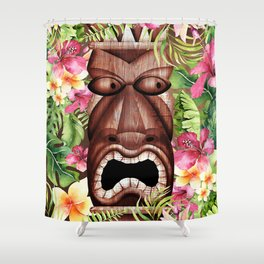 Tropical Hibiscus Tiki Shower Curtain