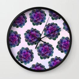 Ultra Violet Succulents Wall Clock