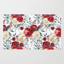 Elegant burgundy pink teal gray watercolor holly leaves floral Rug
