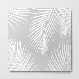 Gray Tropical Pattern Metal Print