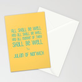 All Shall Be Well - Julian of Norwich Inspirational Optimistic Typography in Turquoise and Yellow Stationery Cards