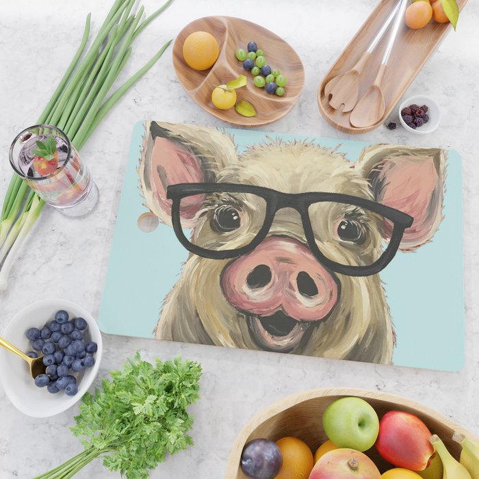 Cute Pig Painting Farm Animal With Glasses Cutting Board By