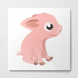 Cute Baby Pig Metal Print