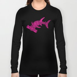 Nancy's Hot Pink Tribal Hammerhead Shark Long Sleeve T-shirt