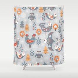 Winter seamless pattern with birds, trees, snowflakes. The Scandinavian style. Folk art. Shower Curtain