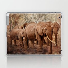 Elephants family on a walk Laptop & iPad Skin
